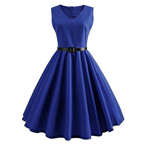 ESAILQ Damen Abendkleider Cocktailkleid Partykleid(M,Blau) -