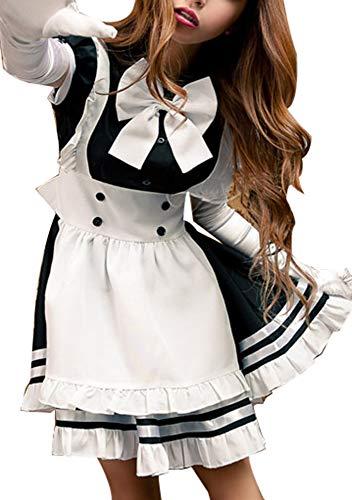 Sodhue Weiblich Leichtes Dienstmädchen Kostüm Rollenspiel Schwarz und weiß Studentenuniform Schön Süß Klassisch Sexy Zuhause Spiel Kostüm