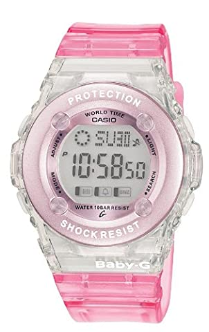 Casio Baby-G Women's Quartz Watch with Pink Dial Digital Display and Pink Resin Strap BG-1302-4ER - Oro Grigio Dial