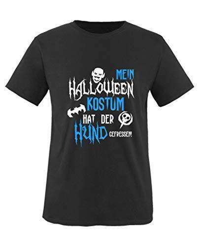 Comedy Shirts - Mein Halloween Kostuem hat der Hund gefressen - Jungen T-Shirt - Schwarz/Weiss-Blau Gr. 152/164 (Pfoten Hund Kostüm)