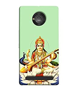 PrintVisa Designer Back Case Cover for YU Yuphoria :: YU Yuphoria YU5010 (Maa Saraswati With Peacock)