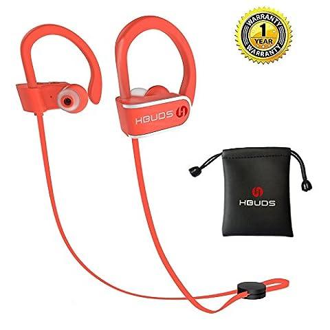 Casque Bluetooth 4.1 Écouteurs Audio Sans Fil Sport Hbuds H1 avec Mic Casque de Sport Intra-Auriculaires Anti Bruit pour iphone 7 Plus iphone 8 Samsung – Rouge