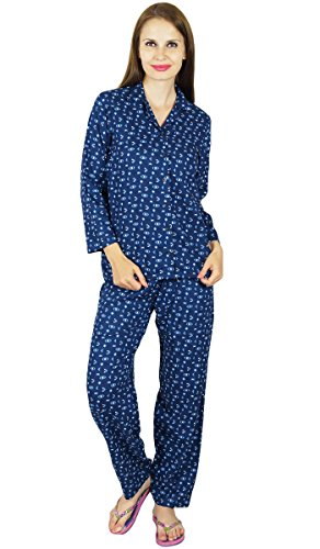 Bimba -  Camicia da notte  - Floreale - Maniche lunghe  - Donna Blue