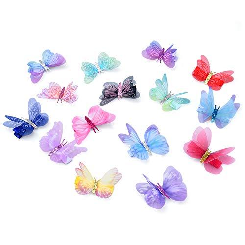 Vathery 3D Schmetterling Haarspange mit Strass, 15 Stk Spange Haarclip Haaraccessoire für Damen Mädchen Kinder