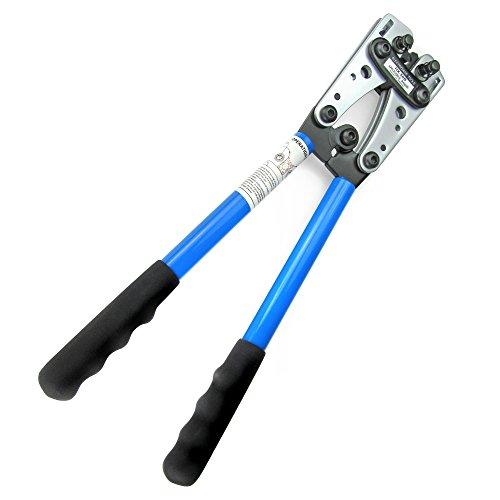 JOM Crimpzange, Kabelschuhzange Kabelschuhe Presszange gross aus Stahl mit rutschfesten Griffen und drehbarem Revolver-Crimpeinsatz für 6-10 - 16-25 - 35-50 mm²