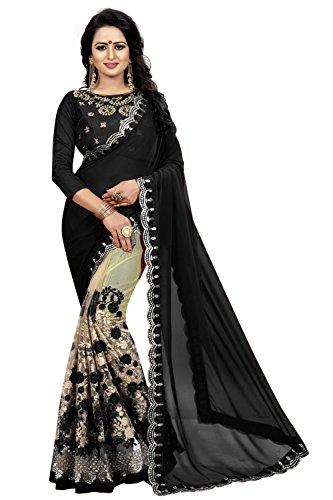 Macube Women's Latest Georgette Embroidered Work saree with blouse piece(MS1351_BLACK_Free size)
