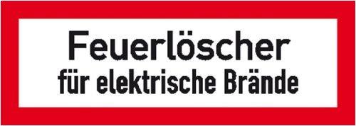 0883. Hinweisschild für den Brandschutz Feuerlöscher für elektrische Brände Weich-PVC-Folie, selbstklebend, bedruckt Größe 14,80 cm x 5,20 cm