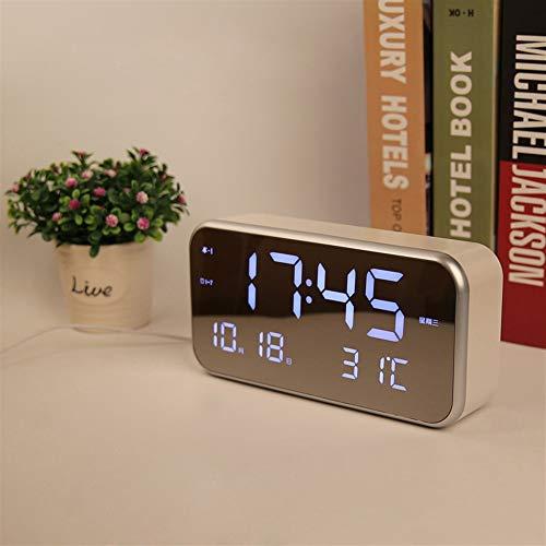 DDOQ Reloj Espejo Pantalla Grande LED Reloj Despertador