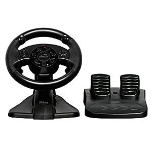 Speedlink Darkfire Lenkrad (für PC/PS3, Vibrationsfunktion, 12 digitale Tasten, Schaltwippen, Lenkbereich von 220 Grad) schwarz