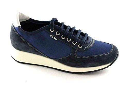 FRAU 43Y3 blu scarpe donna sneakers lacci camoscio raso 38