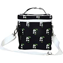 EcoRight Leakproof Lunch Bag with Zipper - Reusable Canvas Eco Friendly Insulated Cooler Washable for Men, Women, Adults (Printed Pandas, Blue) - 0803S01