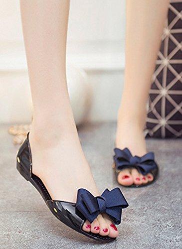 Aisun Femme Mode Basse Bout Ouvert Sandales Avec Noeud Bleu