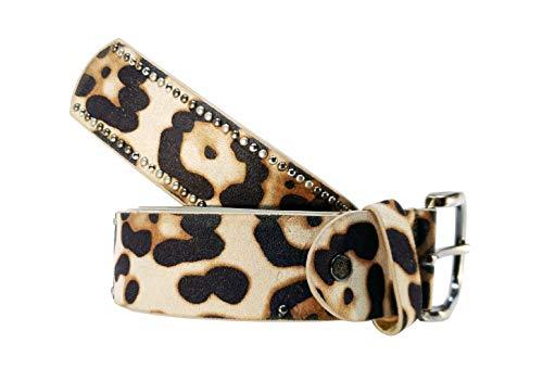 Cinturon tachuelas mujer leopardo cuero piel animal print (Marrón, 85cm)
