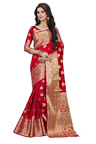 Fashions World Women's Silk Saree With Blouse Piece (Fw-80303_Red)