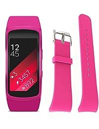 Malloom Silicona reloj repuesto banda correa para Samsung Gear Fit 2 SM-R360 Wristband, Tamaño S (rosa)