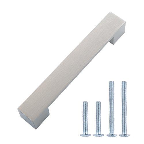 AmazonBasics - Tirador moderno y corto para armario, 16,2 cm de longitud (12,7 cm de centro del orificio), Níquel satinado, Paquete de 10