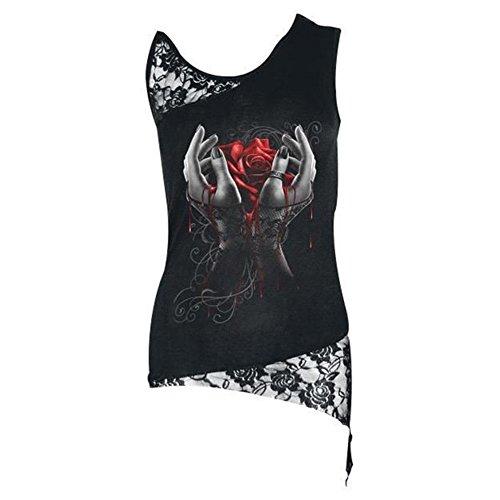 Mxssi Donne Gotico Pizzo Canotte Canotte Rosa Cranio Gilet Senza Maniche Top Summer Sexy Goth T-Shirt Tees Rosso&Nero
