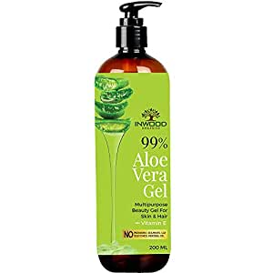 Inwood Organics 99% Pure & Organic Aloe Vera Gel, Best Multipurpose Beauty Gel for Face, Skin & Hair with Vitamin E, Paraben Free - 200 ml