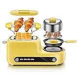 Toaster mit Eierkocher 2-Scheiben-Toaster Edelstahl-Toaster mit herausnehmbarem Krümelschublade 6-stufige Bräunungsgrad Einstellung defrost funktion(Einzelne Seite backen) Gelb