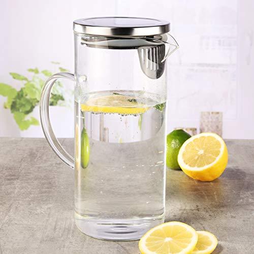 Schoberg Karaffe 1,3 Liter Wasserkaraffe Saftkrug Krug aus Glas mit Ausgiesser und Sieb Saft