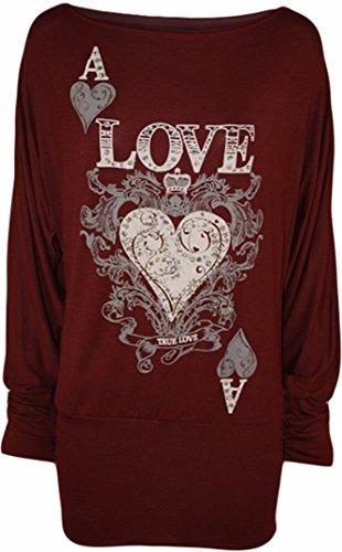 Frauen Langen Ärmeln Ein / AusSchulterAce Heart True Love Batwing ObenJumper Wein