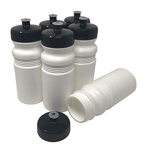 527 ml, BPA-frei, HDPE-Kunststoff, Bulk, 6er-Pack (20 Unzen, weiße Flasche, 63 mm schwarzer Deckel) ()
