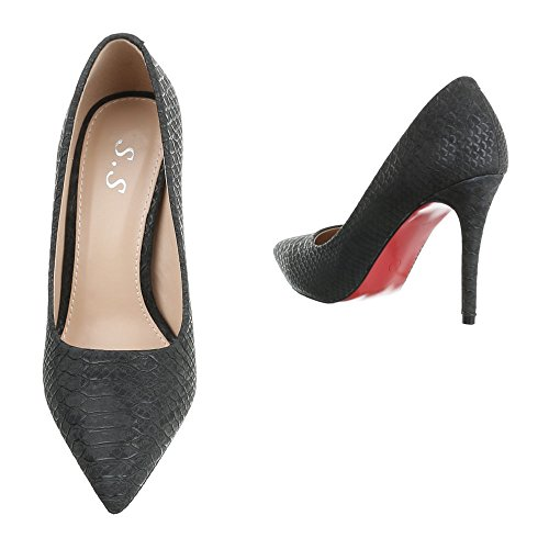 High Heel Damenschuhe Plateau Pfennig-/Stilettoabsatz High Heels Ital-Design Pumps Schwarz
