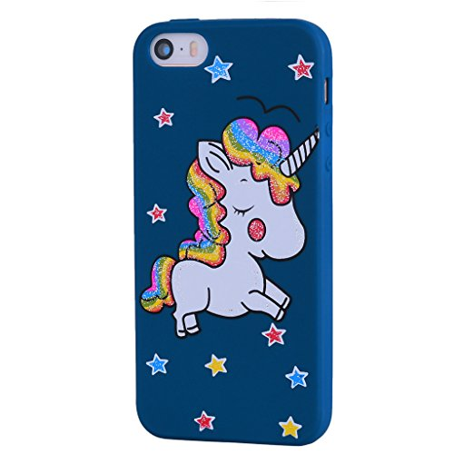 Coque pour Apple iPhone SE 5S / 5 , IJIA Noir Mignon Licorne TPU Doux Silicone Bumper Case Cover Shell Housse Etui pour Apple iPhone SE 5S / 5 skyblue