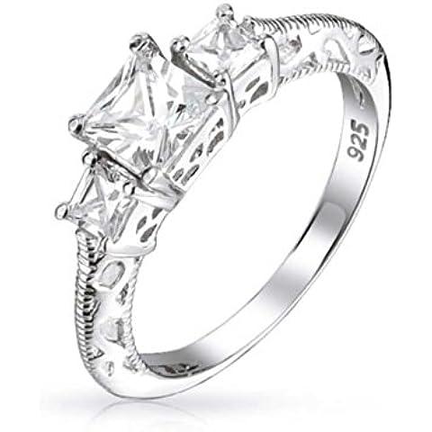 Bling Jewelry Tre Pietra principessa Argento Cut CZ Vintage 925 Anello di fidanzamento