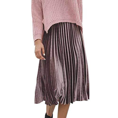 43849061bd0 Falda para Mujer,Lenfesh Falda de Mujer sólida Falda Plisada Casual de  Cintura Alta Midi
