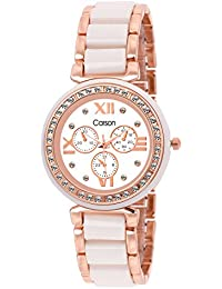Carson Women's Rose Gold White Analog Wrist Watch:-CR1703