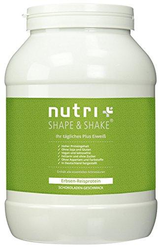 Nutri-Plus Erbsen-Reis-Protein - Veganes Eiweißpulver ohne Soja, Gluten, Laktose und Aspartam - Schokolade 1kg - Hypoallergen