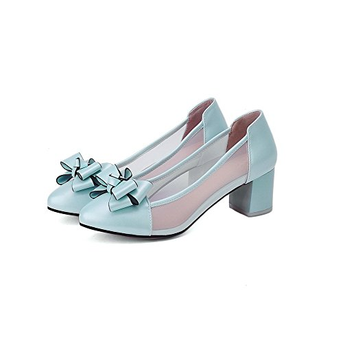 AllhqFashion Femme Pu Cuir à Talon Correct Rond Couleur Unie Tire Chaussures Légeres Bleu Clair