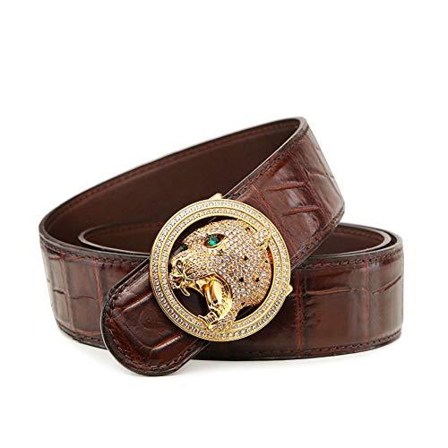 LISILI Herren Gürtel Krokodil Design Echtes Leder Kleid Gürtel Gurt Gold-Silber Diamond Leopard Kopf Schnalle,Braun,130cm/51.2in -