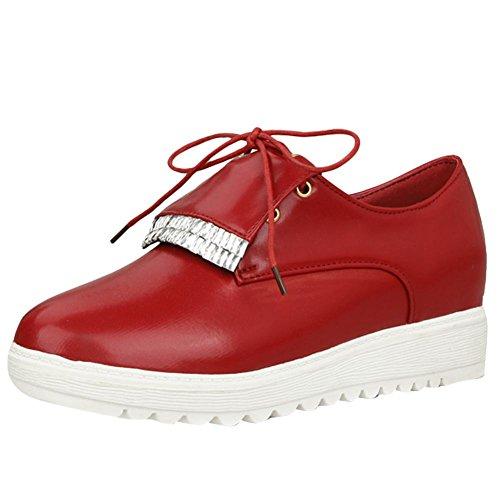 MissSaSa Femmes Chaussures Loisir Fermetures Lacets Rouge