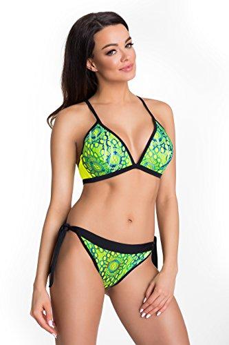 Primo© - 421 - Damen Bikini Set Badeanzug Batching Beachwear Bademode • S - XXL Größe • Neue Kollektion • Frühjahr Sommer 2017 (M, gelb neon + (Kostüme Mädchen Pinterest)