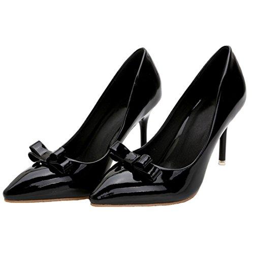 HooH Femmes Cuir Verni Pointu Bowknot Stiletto Escarpins Noir