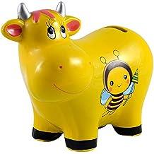 Hucha Infantil de Cerámica modelo Vaca (17x13.5x7.5 cm) con tapón - Amarillo