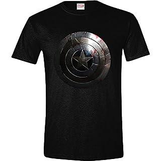 Marvel- Captain Shield Silver T-Shirt, MECAPTMTS005, (Noir), Medium (Taille Fabricant: M) (B00JRC1SZI) | Amazon Products