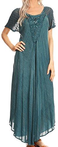 Sakkas 16611 - Helena gesticktes Lace-Up Kaftan Kleid/Cover mit Ösen Ärmeln - Denim Blue - OS
