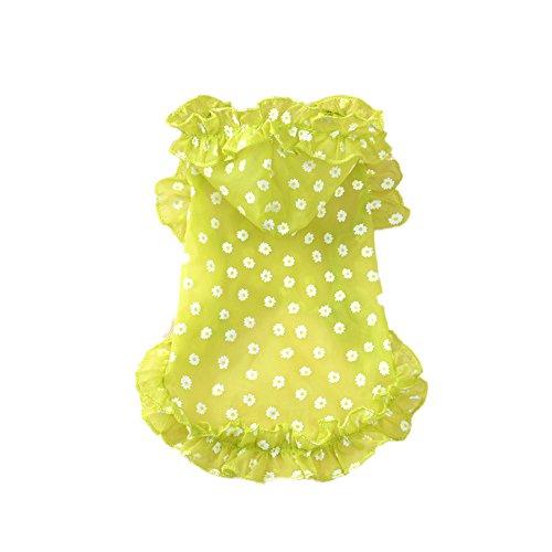 BUYITNOW Sofortkauf-Pet Sommer Suncreen Weste Atmungsaktiv Transparent Daisy Muster Rüschen Hoodie Hunde Katzen T Shirt Kleidung, M, Grün -