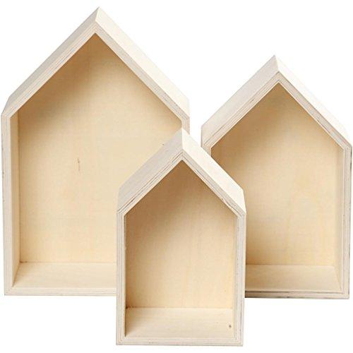 3-teiliges Set Holzbox, Regalbox Hausform, Wandregal Wanddekoration, Holz unbeh.