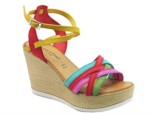 Sandali Mercante di Fiori donna in nabuk multicolore zeppa effetto tela (Taglia 36)