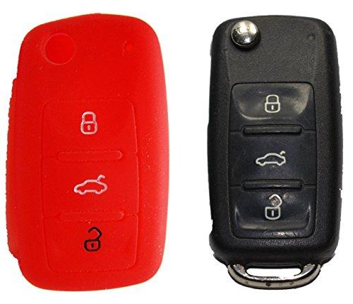 1x Rote Autoschlüsselhülle - Volkswagen - Seat - Skoda - Silikonhülle - Fernbedienung - Schlüsselhülle - Key Cover - Schutzüberzug - Klappschlüssel - Gehäuse - Tasche - Silikoncover