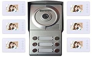 Portier interphone 2 fils 6 appartements + 6 écrans