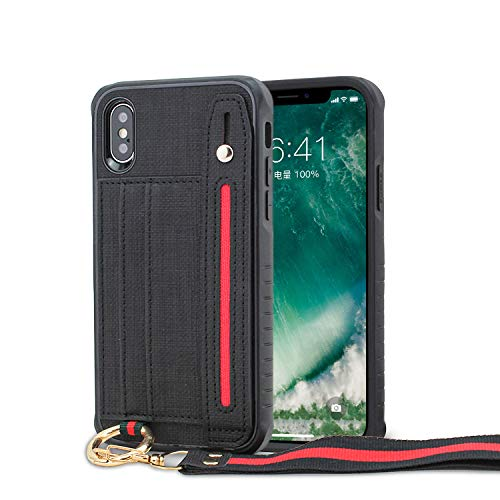 LUXCA Schutzhülle für Apple iPhone XR, Leder, mit Reißverschluss, Geldbörse, Handtasche und Handschlaufe, schwarz - Att Unlocked Handys