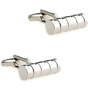 CIFIDET Silber Zylinder Metall Manschettenknöpfe Fashion Herren Hemd Manschettenknöpfe mit Geschenk-Box