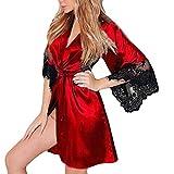 Nachthemd Yazidan Frauen Sexy Seide Kimono Dressing V-Ausschnitt Babydoll Spitze Kante Unterwäsche Gürtel Kurz Bademantel Seidig Satin Verband Nachtwäsche Volltonfarbe Schlaf-Kleid(rot,L)