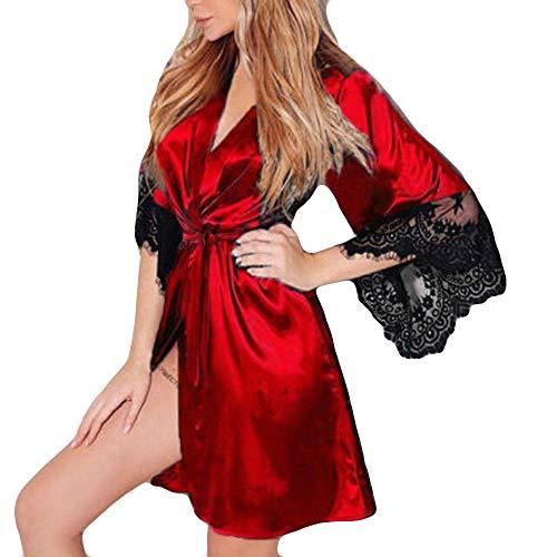 Nachthemd Yazidan Frauen Sexy Seide Kimono Dressing V-Ausschnitt Babydoll Spitze Kante Unterwäsche Gürtel Kurz Bademantel Seidig Satin Verband Nachtwäsche Volltonfarbe Schlaf-Kleid(rot,S)