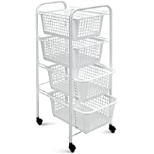 Metaltex Miami - Carro multiuso con 4 cestos extraíbles, color blanco